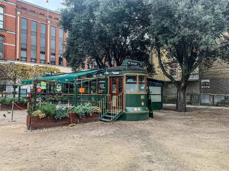TRAM CAFE AT WOLFE TONE PARK IN DUBLIN CITY CENTRE